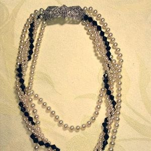 Vintage pearl necklace with marcasite clasp.